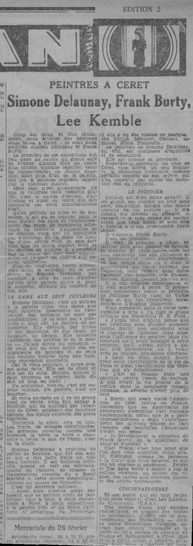 Article about three painters exhibiting in Céret in the Perpignan paper, 1950s.