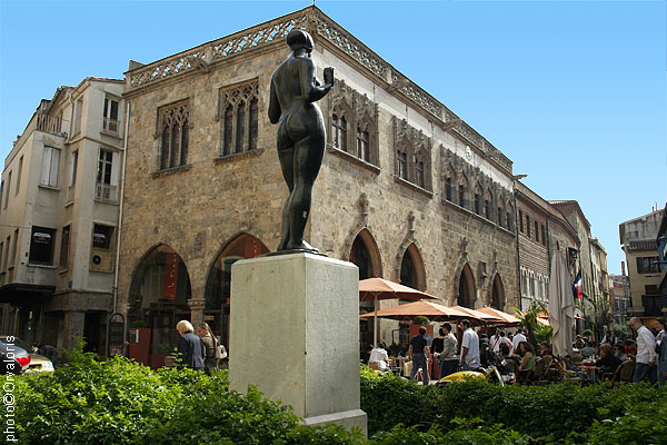 A sculpture by Aristide Maillol overlooking the Place des Loges, Perpignan, France