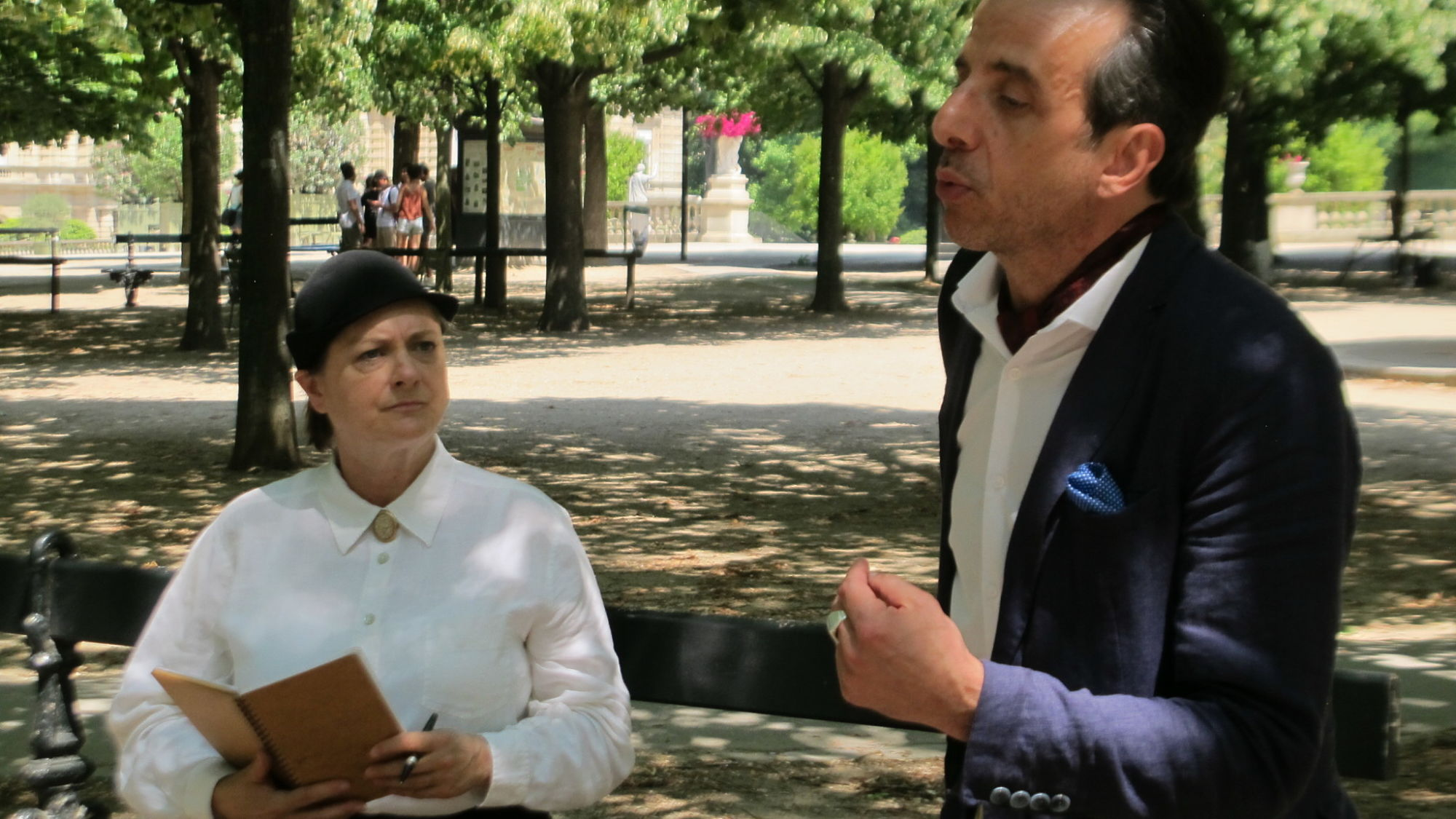 Gertrude Stein and Ernest Hemingway overheard by Papa's Paris Tour guests in the Luxembourg Gardens, Paris.