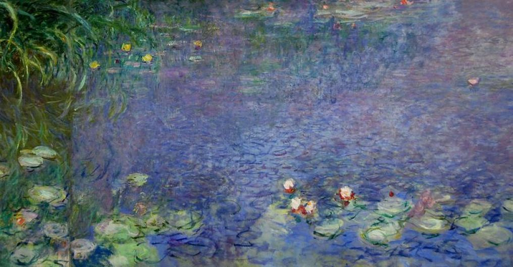 A portion of a Water Lilies painting 1914 by Claude Monet at the Orangerie Museum.