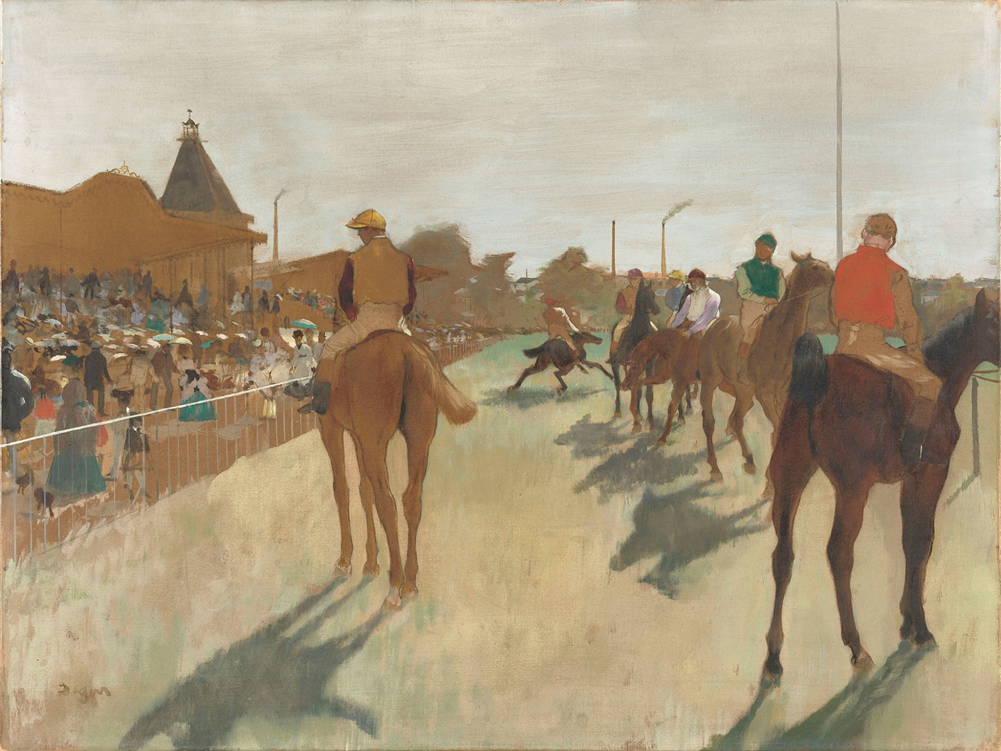 The Parade, also known as Race Horses in front of the Tribunes, Edgar Degas, 1866-1868.