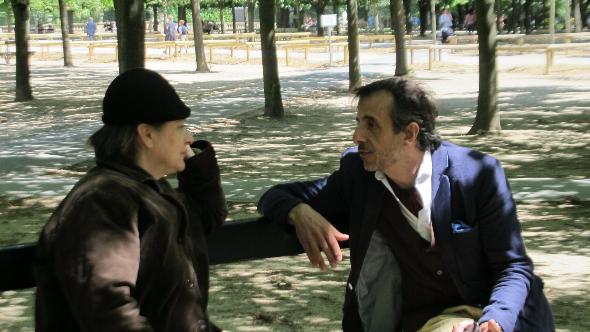 Gertrude Stein and Ernest Hemingway debating literature in the Luxembourg Gardens, Paris.