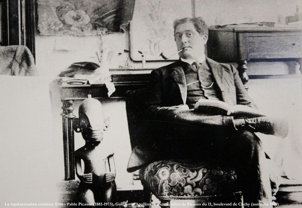 Guillaume Apollinaire in Picasso's studio, photo by Picasso.