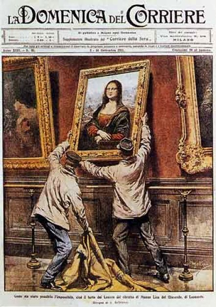 Italian newspaper with a rendering of the theft of the Mona Lisa.