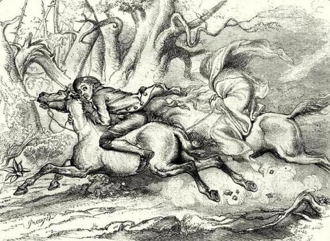 Ichabod's Chase by F.O.C. Darley in  Le Magasin Pittoresque , 1849.