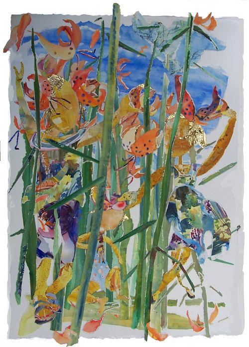 Girls as Tiger Lilies , Watercolor Collage, Alix Hallman Travis.