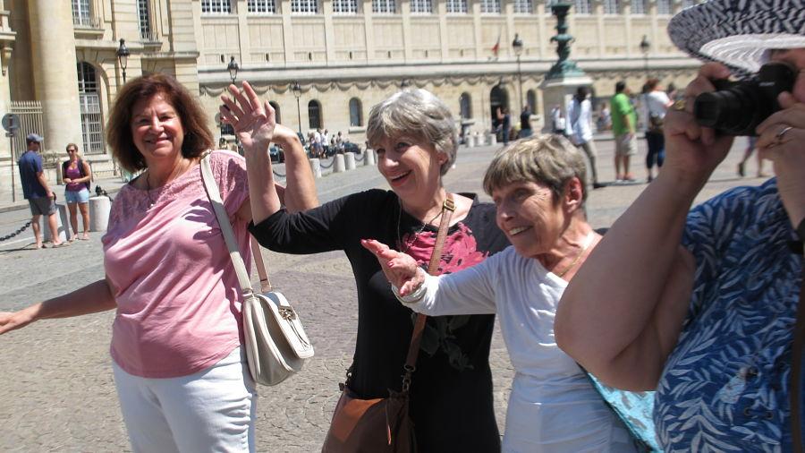 Guests on our  Papa's Paris Tour  doing the time warp. Photo Elizabeth Kemble.