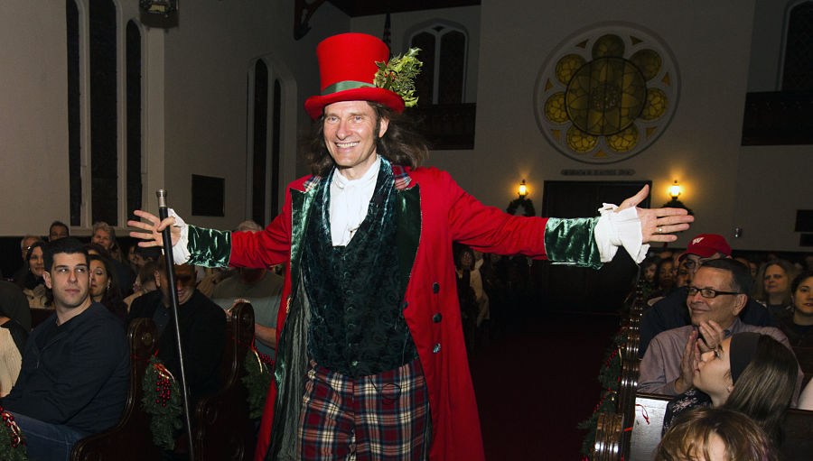 Jonathan Kruk performing  Dickens's Christmas Carol  at The Old Dutch Church in Sleepy Hollow New York. Photo Tom Nycz.