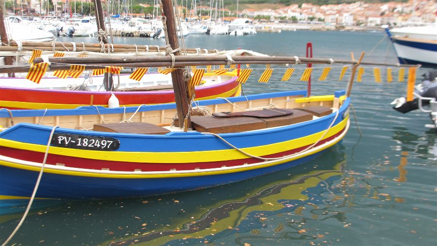 Catalonian fishing boats in Banyuls, the sculptor Aristide Maillol's home town. Photo Travellati Tours.