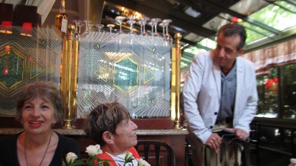 David Coburn as Ernest Hemingway greeting guests at  La Closerie des Lilas  during our   Papa's Paris Tour  .