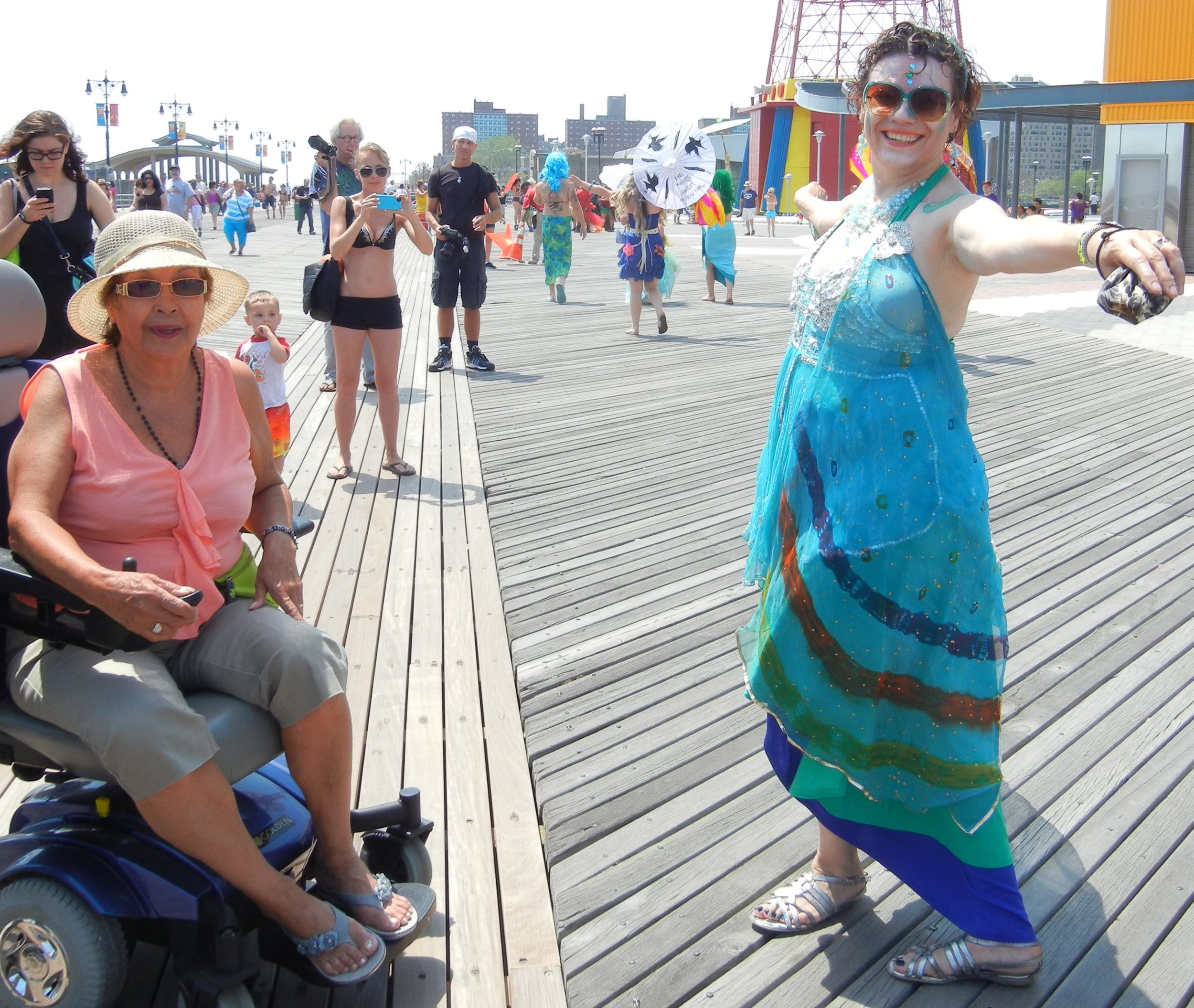 Photo Op after the Mermaid Parade on the boardwalk in Coney Island, New York, 2013.