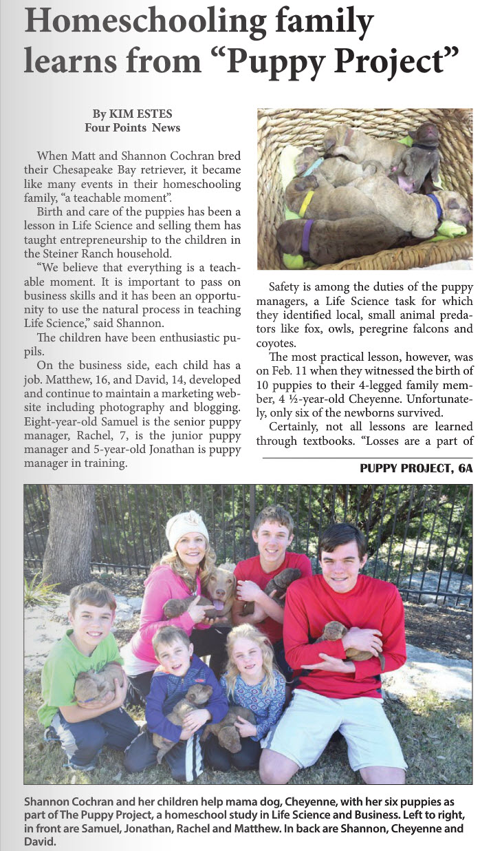 Puppy Project Four Point News Pg1.jpg