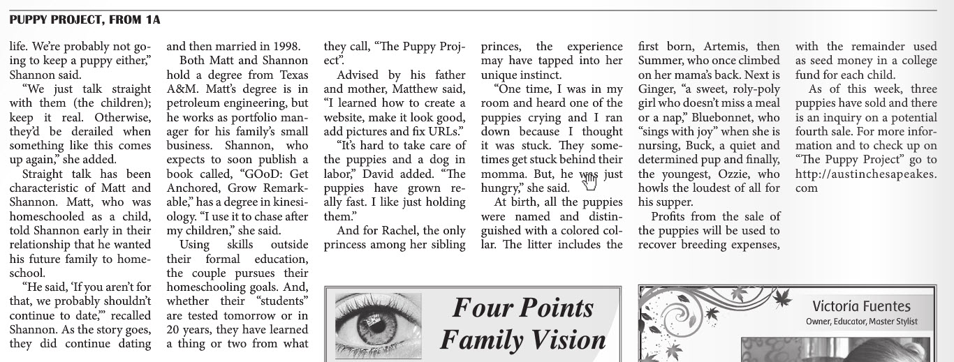 Puppy Project Four Point News Pg2.jpg