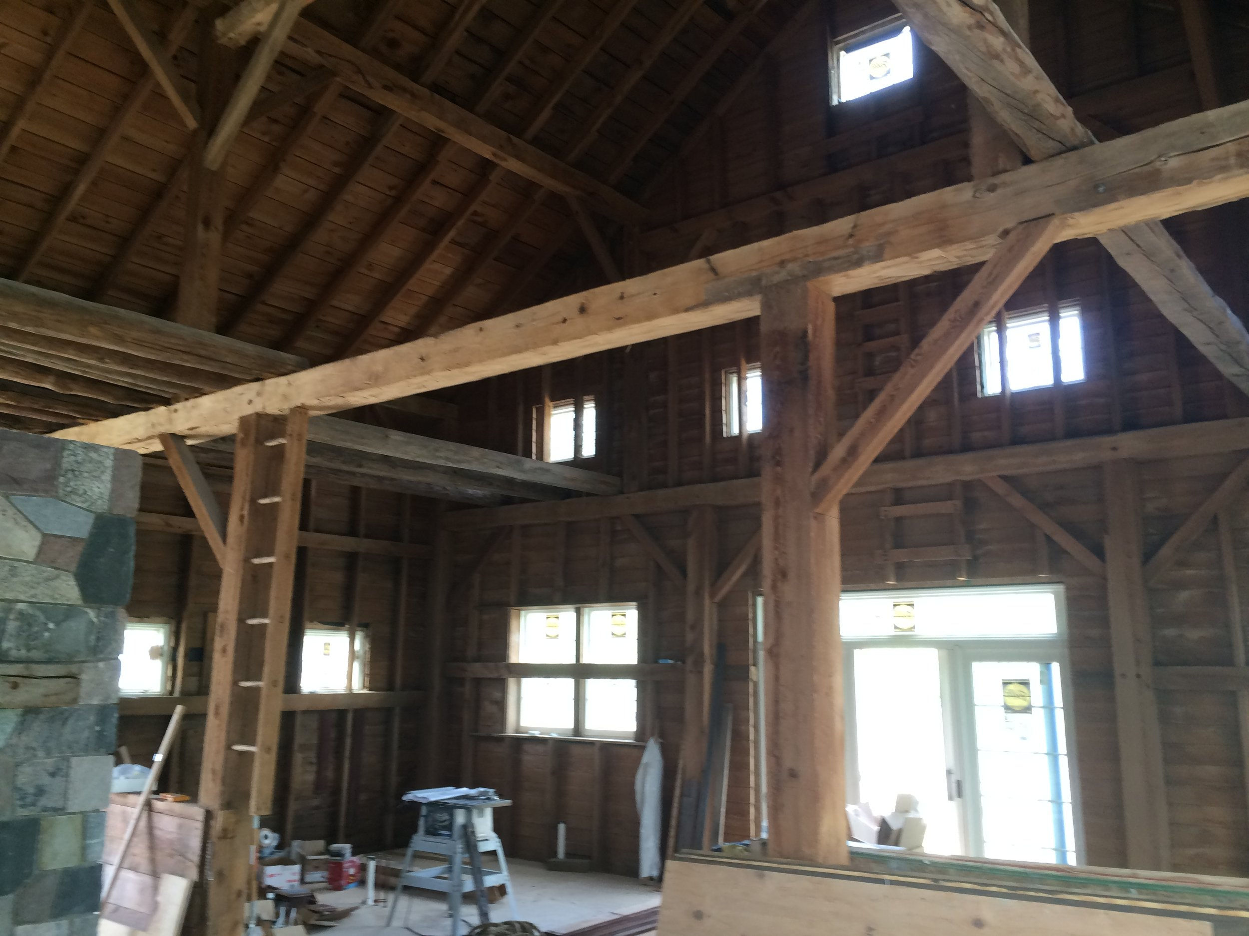 Working on a barn renovation