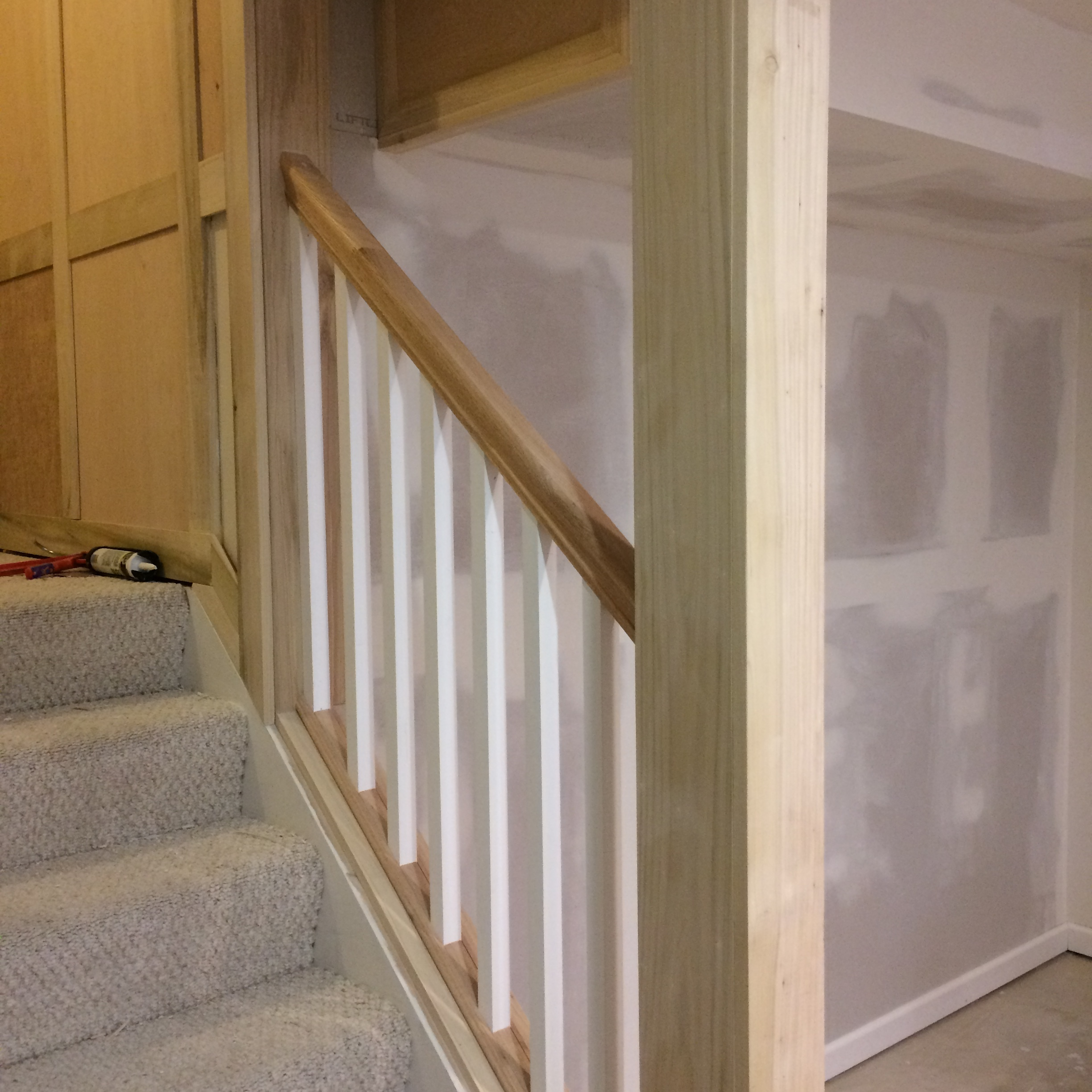 Finish carpentry detail on basement stairway