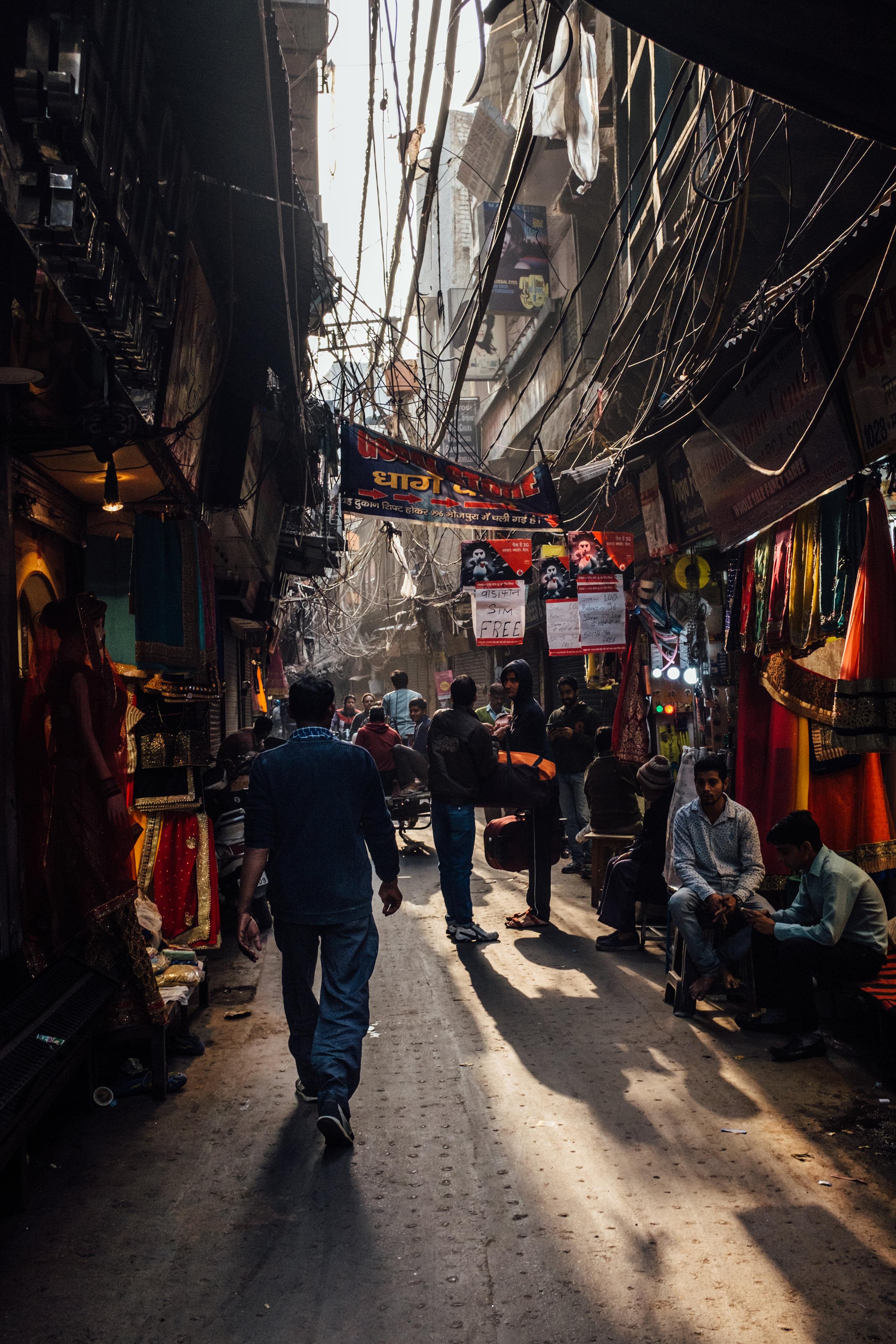 We took a rickshaw ride through Old Delhi