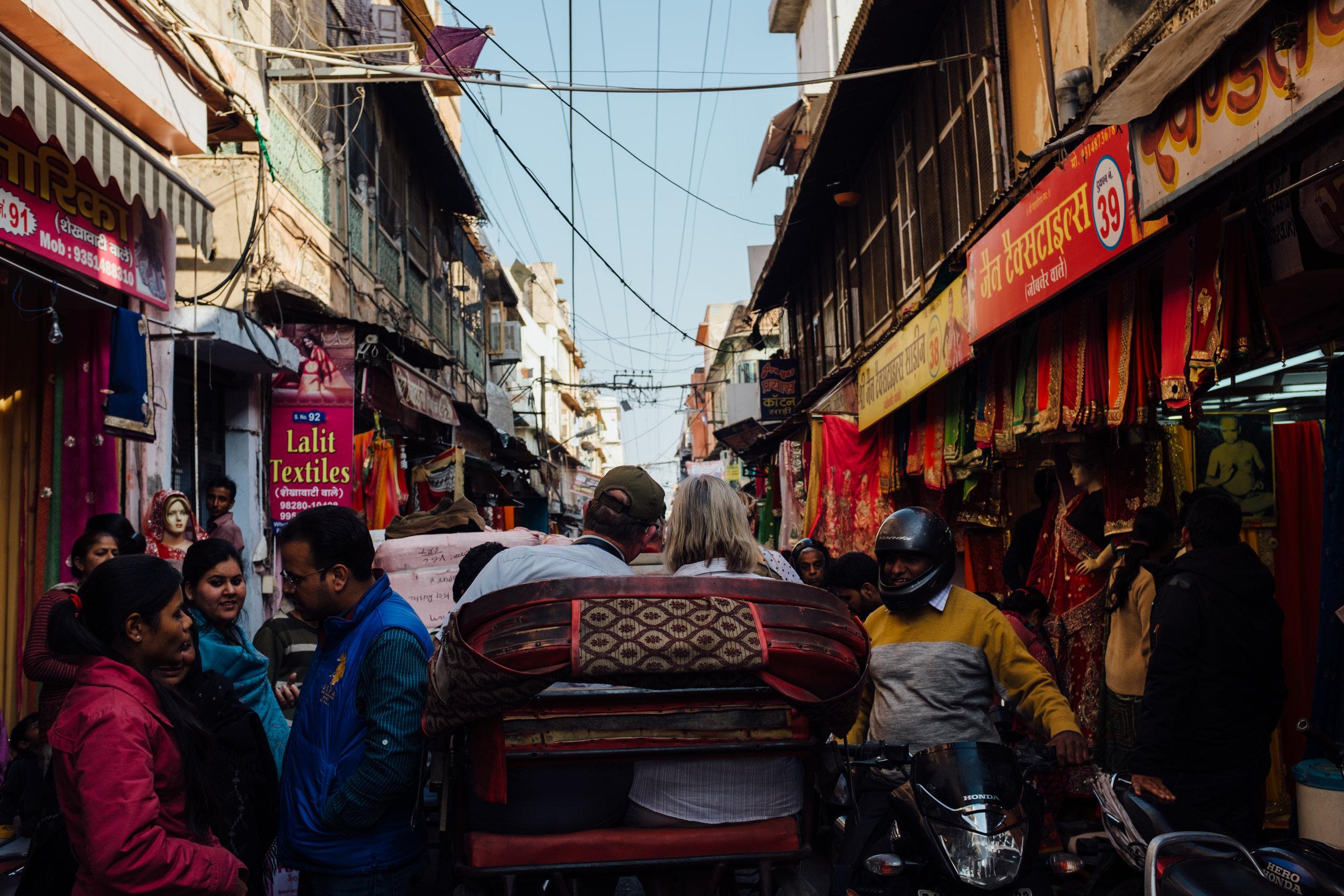 Rickshaw ride through the streets of Jaipur