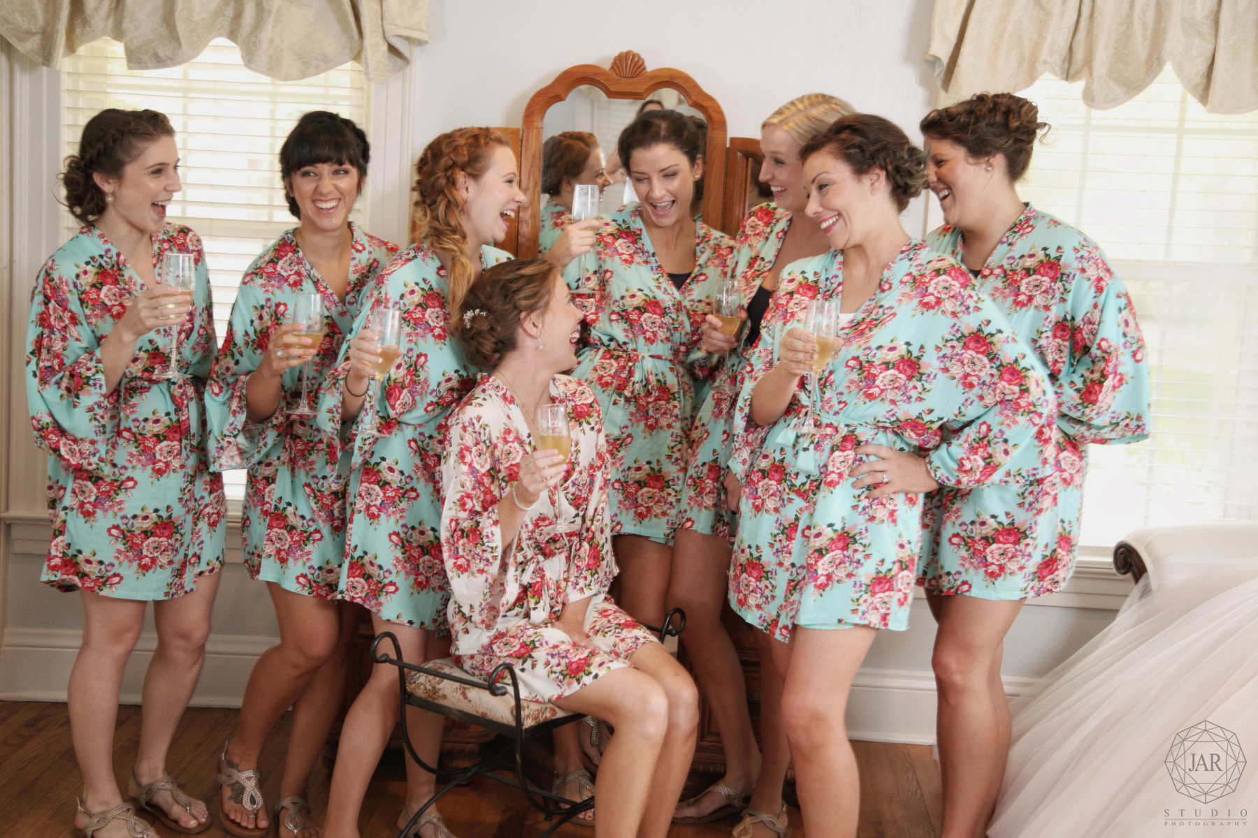 Floral bridesmaids robes fun bride Orlando wedding photography