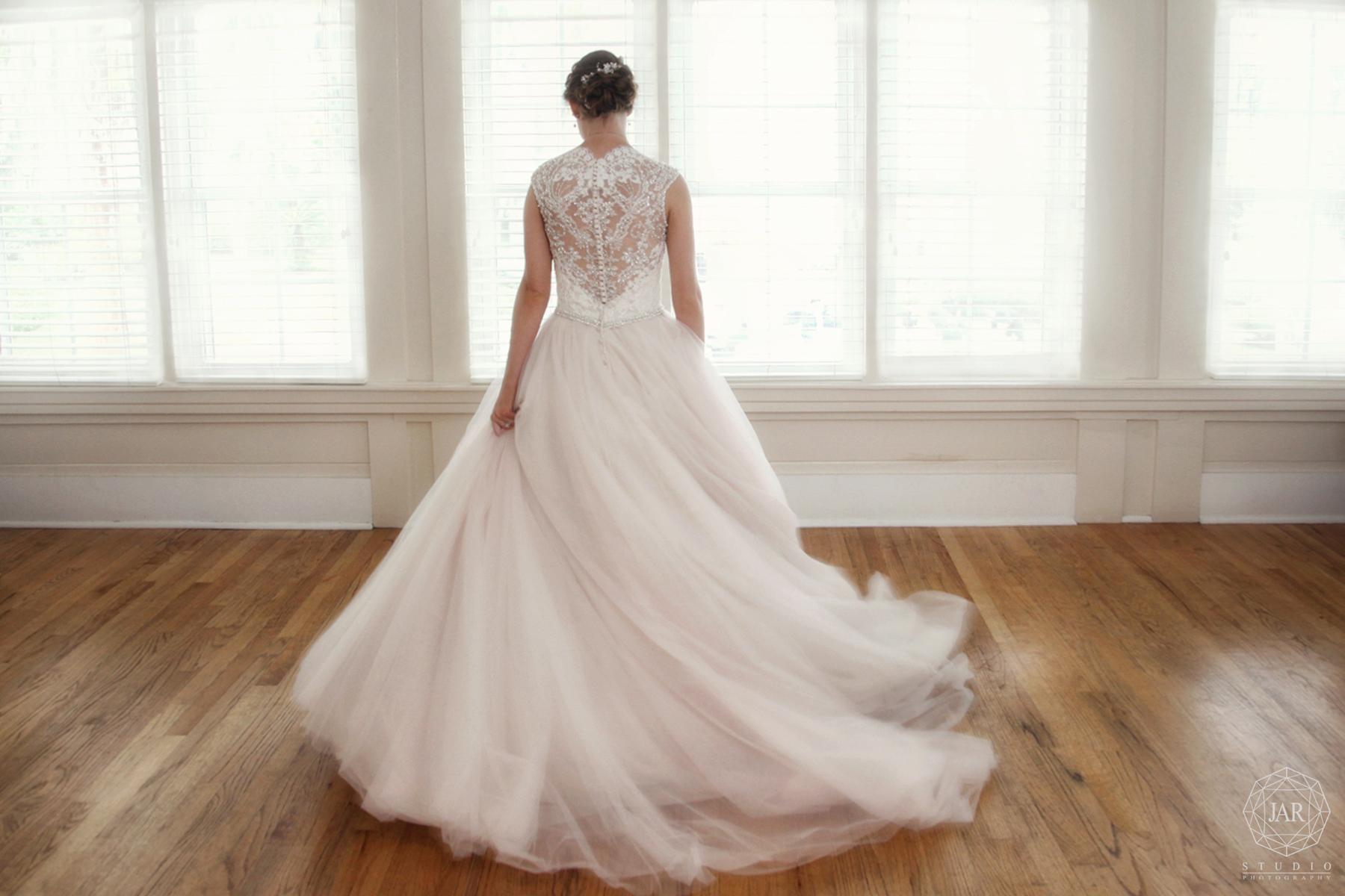 Wedding dress lace back modern blush Orlando photography