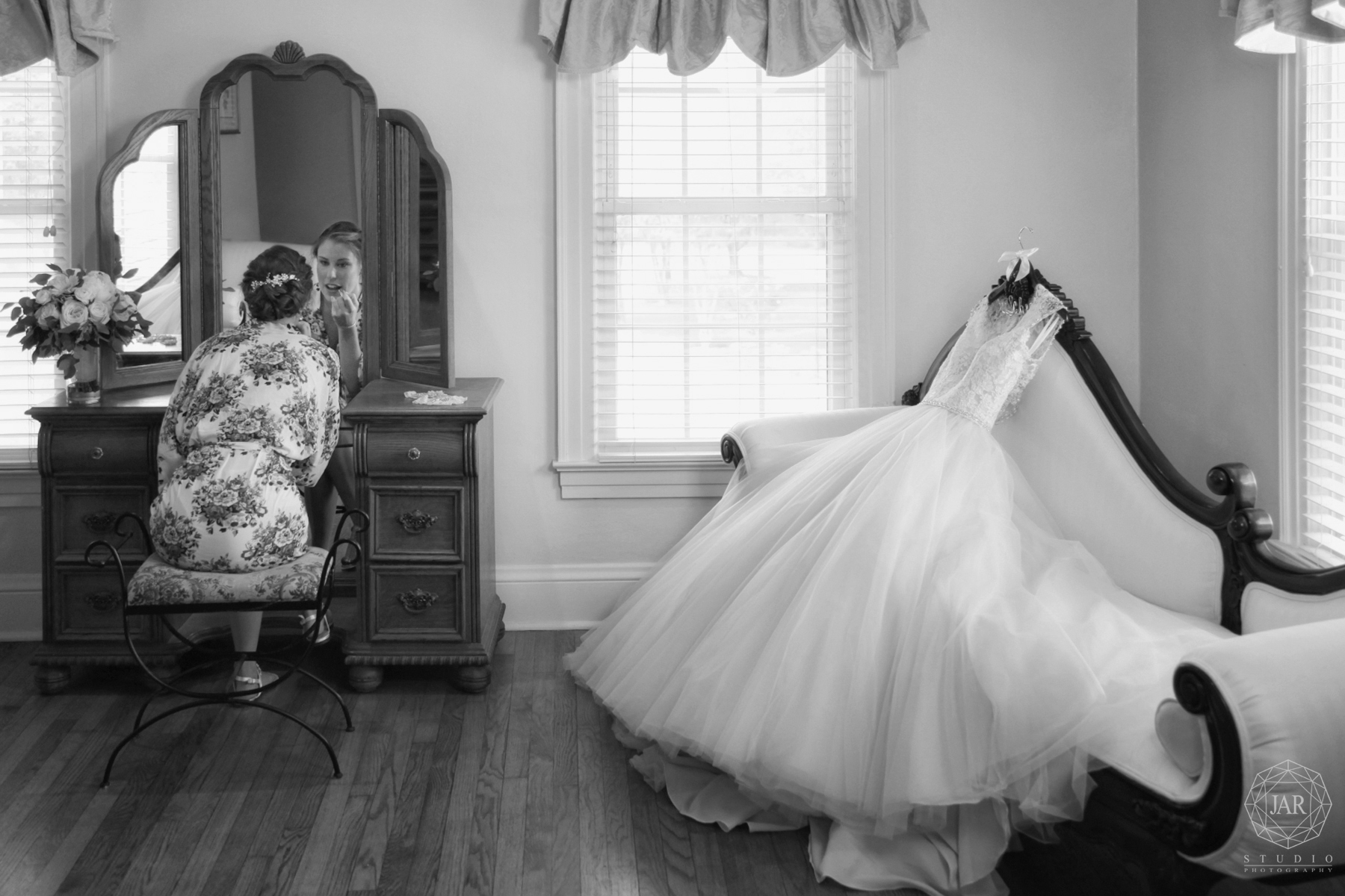 Bride getting ready amazing wedding dress Orlando Photographer