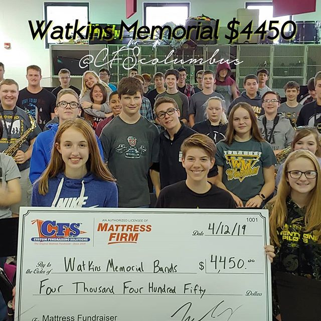 Watkins 8th Annual Mattress Fundraiser and STILL a great day. They've earned over $30,000 lifetime!!! @watkinsmemorial  #watkinsmemorial #watkins #pataskala #mattressfundraiser #cfscolumbus #cfs #band #sleep #mattress #annual