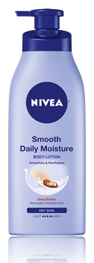 NIVEA 's  Smooth Daily Moisture Lotion   (Price varies by retailer but is typically less than $10 for a 16 oz bottle)