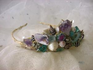 Amethyst Crystal Shell Gold Leaf Mermaid Tiara from  mermaidspalace  ($100)