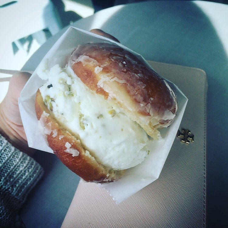Heave on earth: Arab style ice cream sandwiched by a warm Glam Doll glazed donut. <3