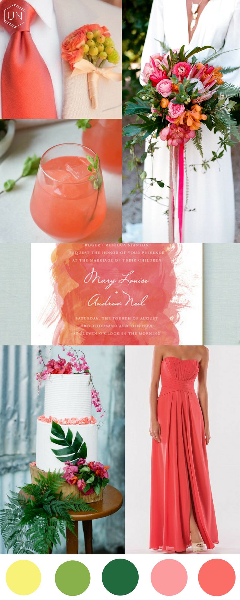 Unbridely - greenery colour palette 'coral'