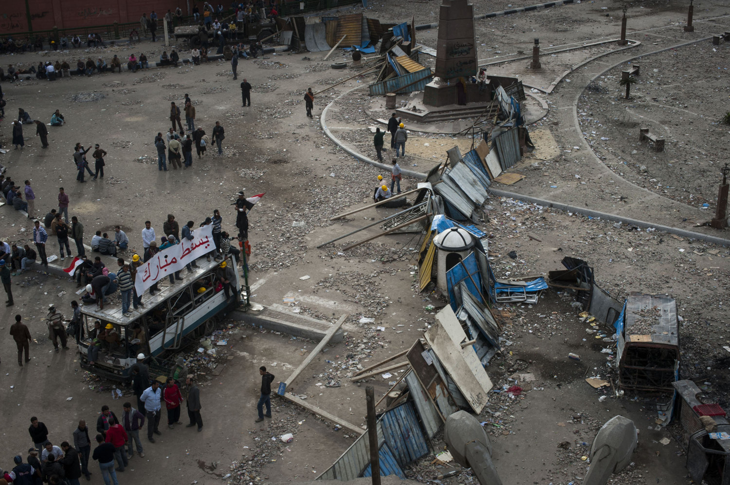 The barricades that separate Tahrir Square from the Pro-Mubarak protesters, and the rest of the world on February 4, 2011.