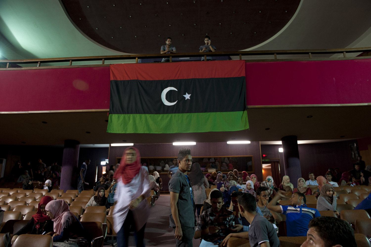 Students at Tripoli University attend a meeting of the elected Student Council on July 12th 2012.