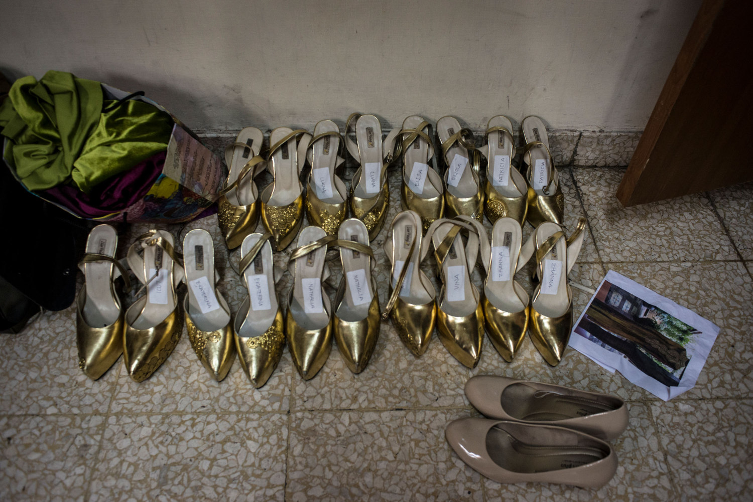 Shoes are labeled and laid out in preparations for the Grand Finale on November 21st, 2014 in Yogakarta, Indonesia.