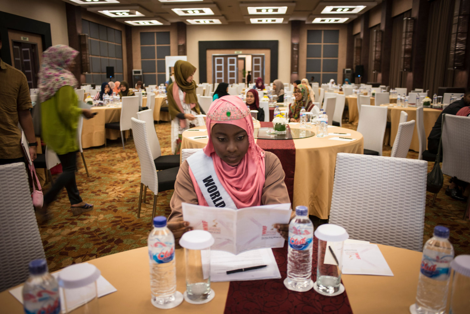 2013 Miss Muslimah winner Obabiyi Aisha Ajibola prepares for her speech on November 19th, 2014 in Yogakarta, Indonesia.