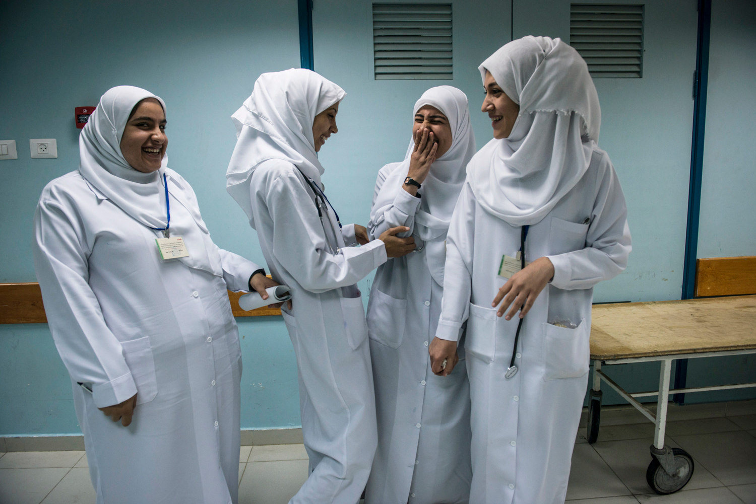 Medical students from Islamic University on break in the Maternity Ward of Al-Shifa Hospital in Gaza.