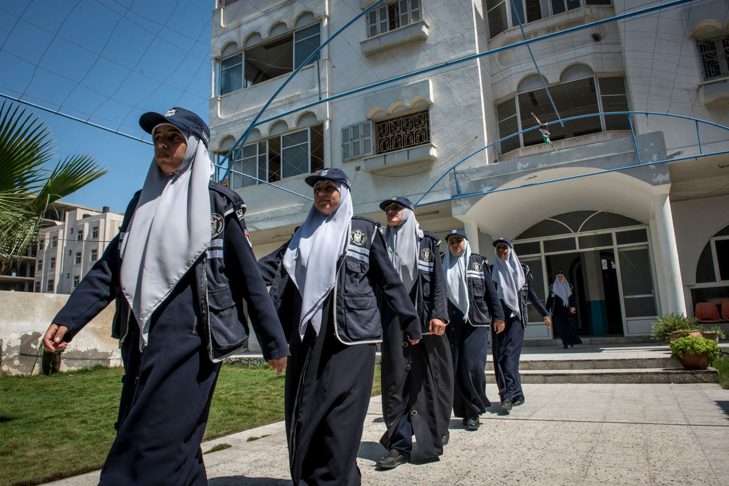 Young women train to be in the police force. Hamas prides itself on its female police force, who are helpful with domestic violence issues and law enforcement.