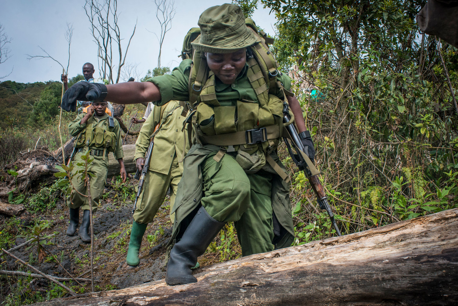 Solange on the patrol down from the volcano.For the first time, women have taken up the most dangerous job in wildlife, becoming para-military rangers at the Virunga National Park in DR Congo.