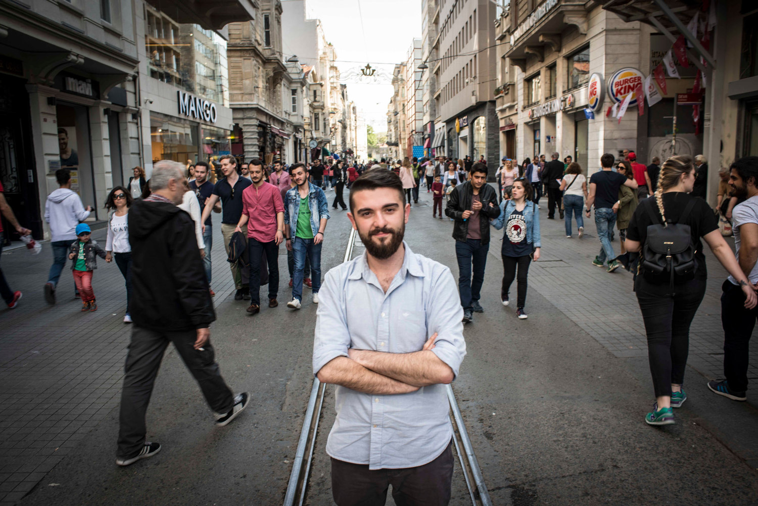 Engin Onder, Young Global Leader from Turkey. Photographed in Istanbul  on Istiklal Cadessi, the main walking street in the city on May 5th 2015 for TIME Magazine.