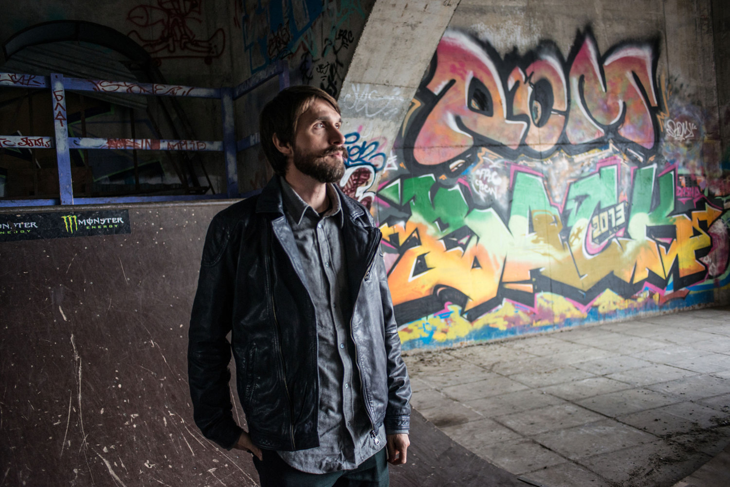 Dima Ryback in a skate park called Gavanb Park that he helped create, in Kiev Ukraine.