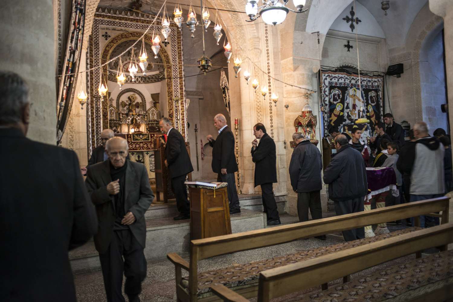 A church service at Mor Barsaumo church on October 31st, 2014.