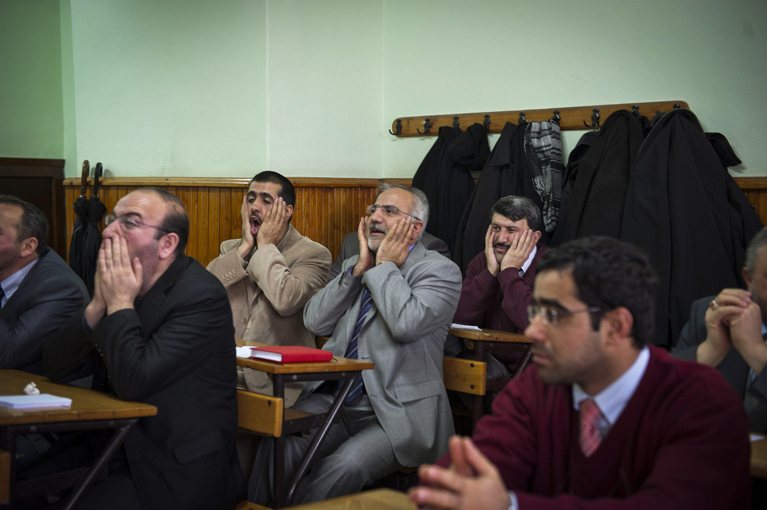 Imams and other religions scholars attend Singing lessons held by the Beyoglu Müftülüğü¸ in Istanbul Turkey. The lessons, taught by Fikret Yasin are held twice a week for an average of 20 scholars. During the lesson they focus on singing scales and instruction on singing the Azan, or call to prayer.