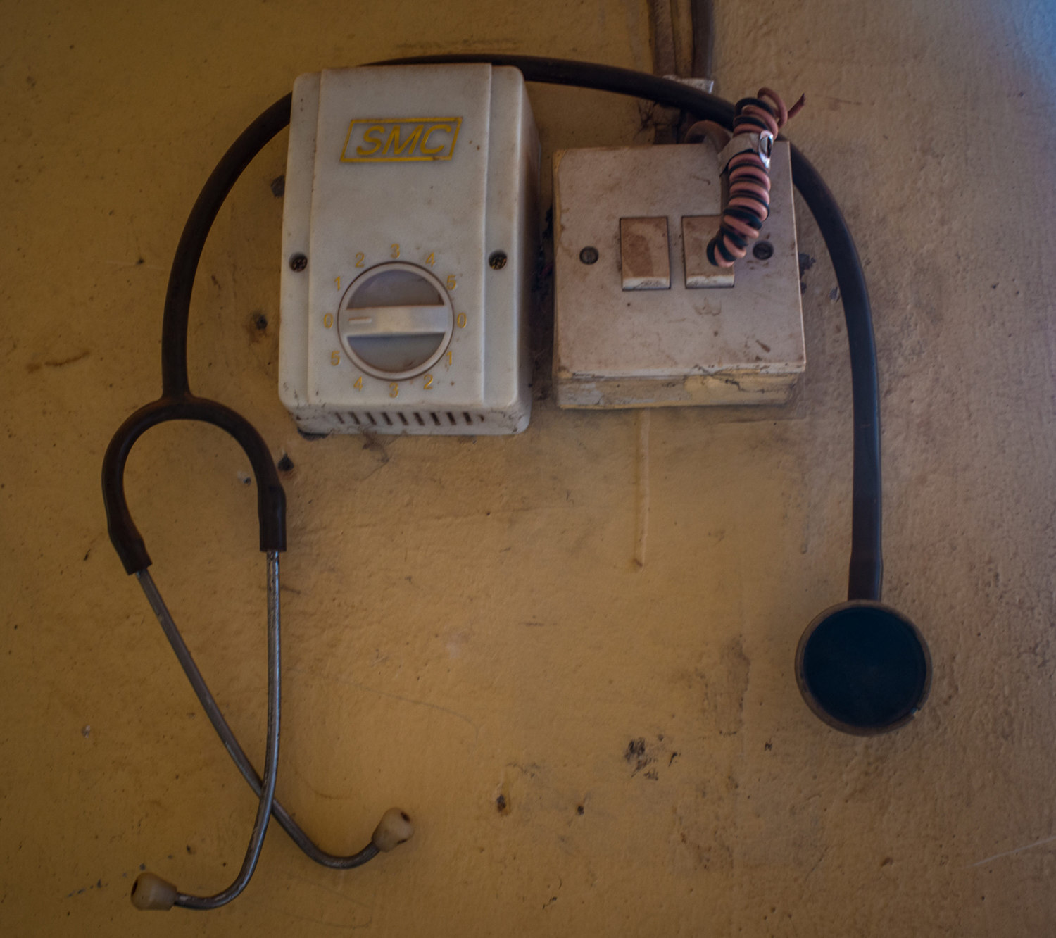 A stethescope hangs in a rural clinic in a suburb of Lokoja.