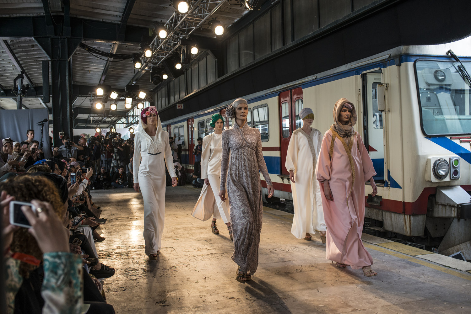 Images from the first day of Modanisa's Istanbul Modest Fashion Week which takes place at Haydarpasa train station in Istanbul, Turkey on May 13th, 2016.