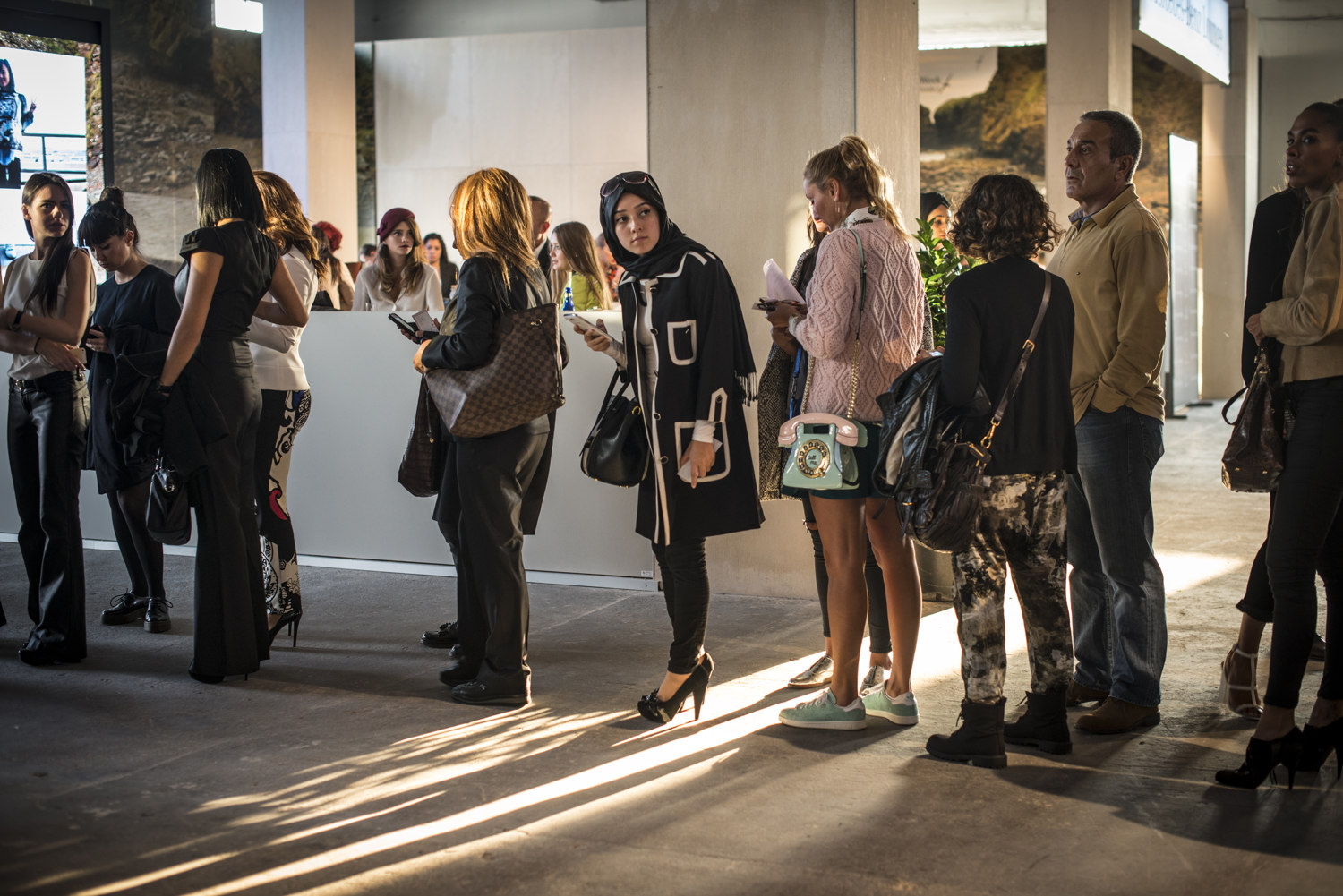 Show goers before the DB Berdan show at S/S 2015 Istanbul Fashion Week.