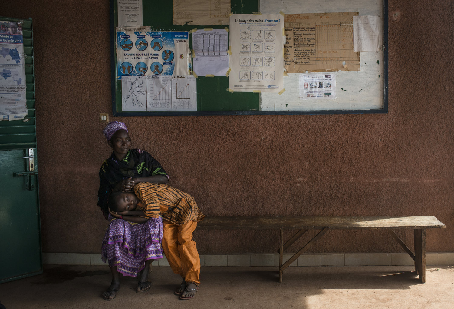 The waiting room at the Faranah Health center in Faranah, Guinea on November 17th, 2015.