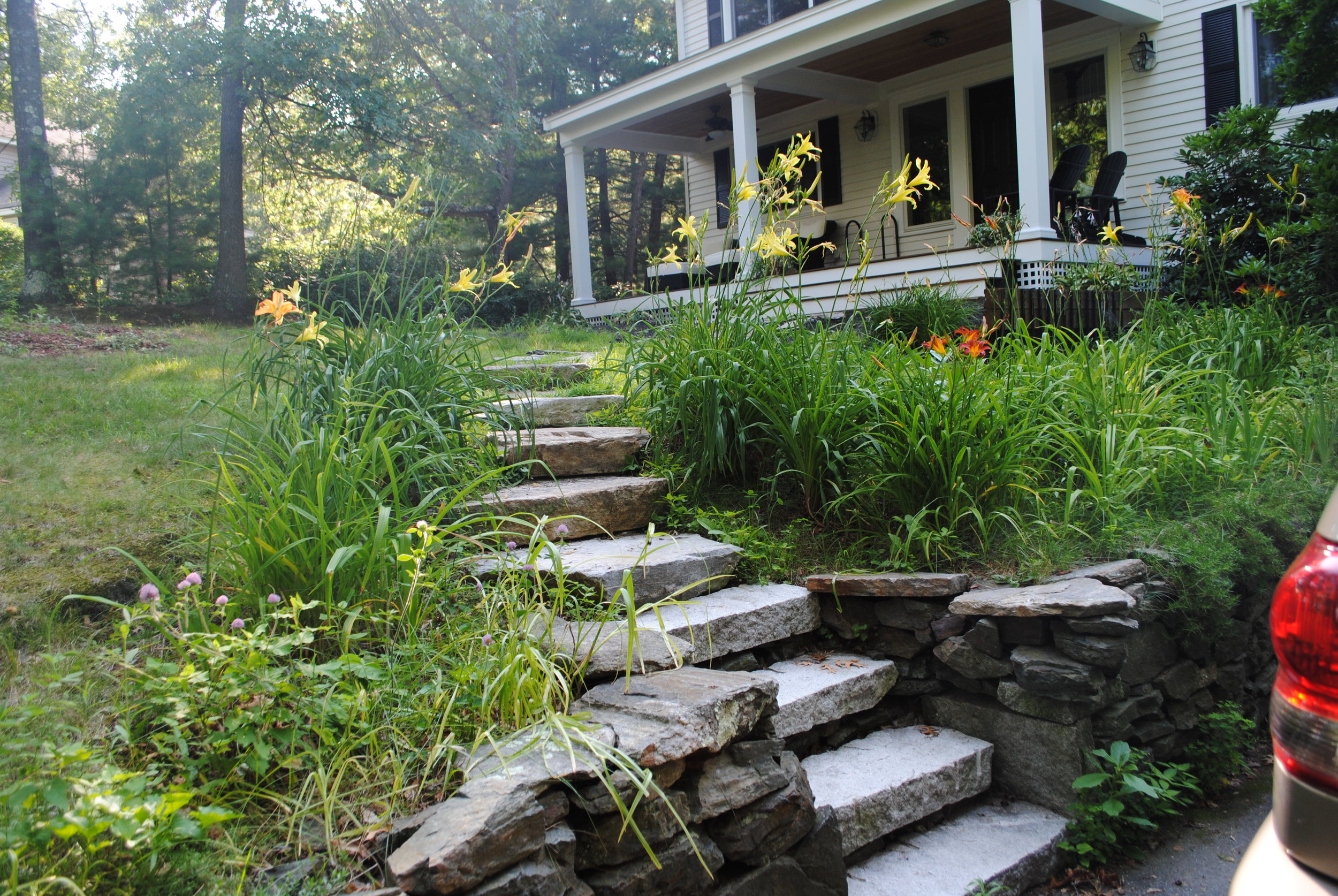 Front entrance steps and path, Concord, MA