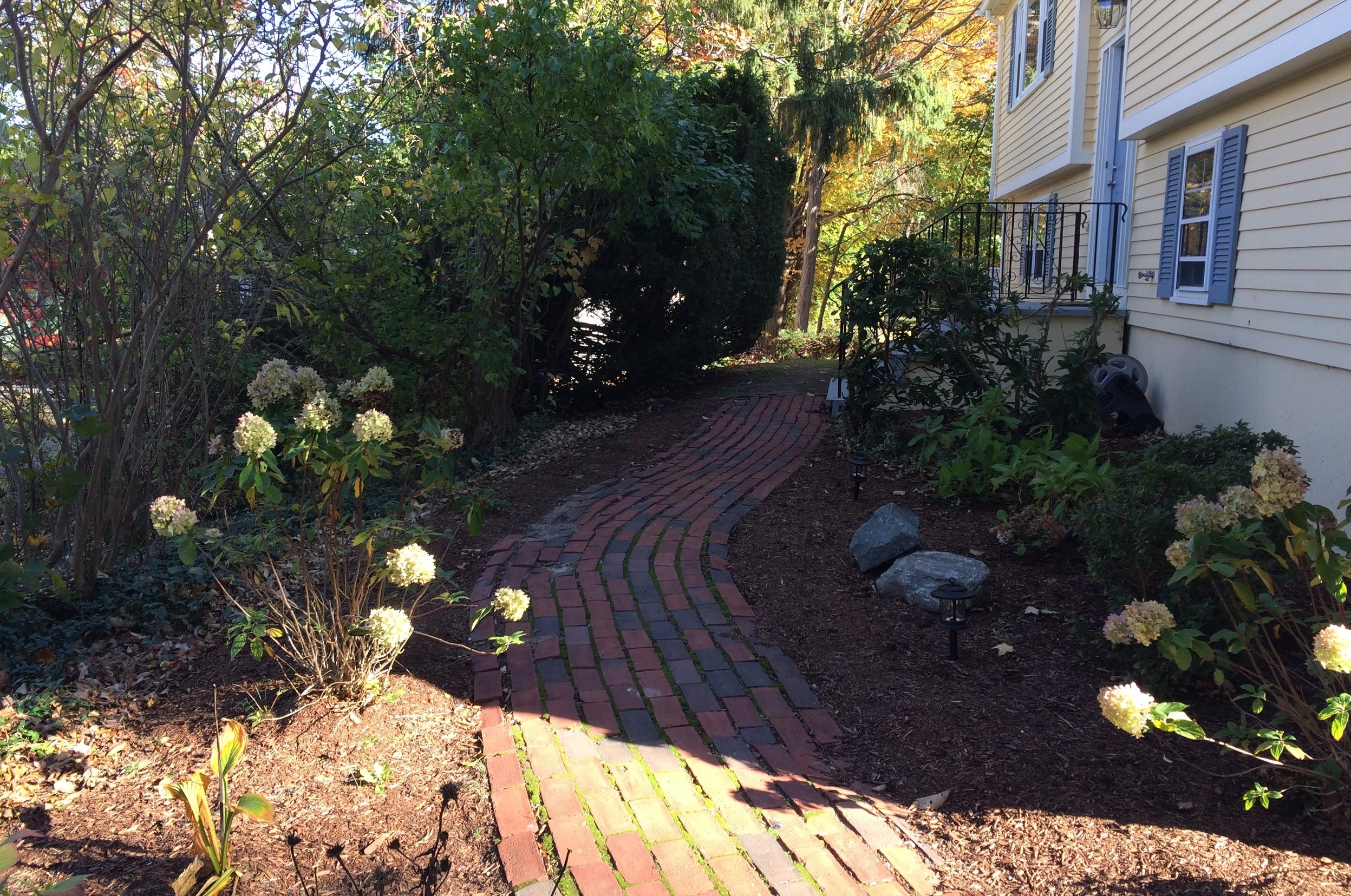 Side entrance, path and borders, Concord, MA
