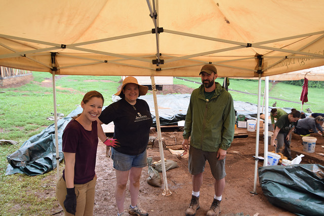 Out in the field  with Montpelier   Senior Research Archaeologist   Terry Brock   and my volunteer partner Emily