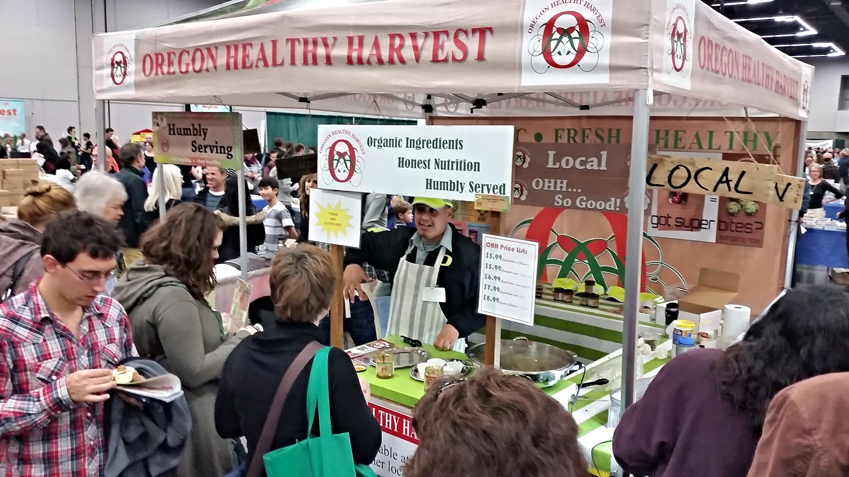 humbly serving oregon healthy harvest to the amazing folks at portland's vegfest!
