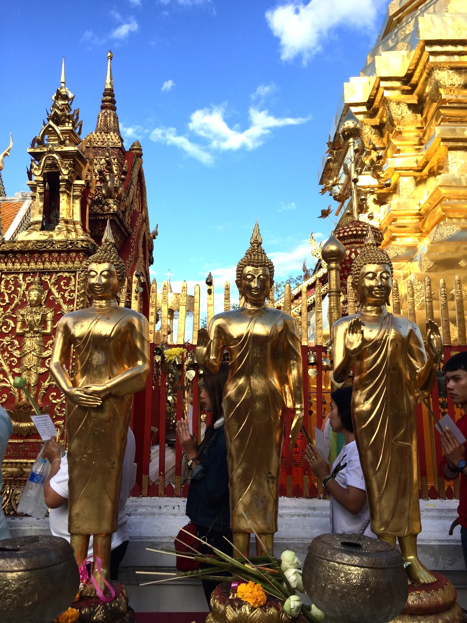 Visiting heavenly temples including Wat Pho in Bangkok and Doh Suthep in Chiang Mai.