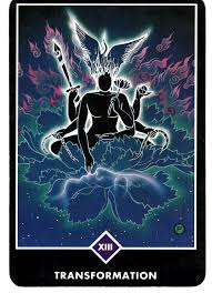 XIII  - TRANSFORMATIONin the Major Arcana, depicting Shiva sitting in a flaming lotus with a phoenix rising above his head. Fitting.